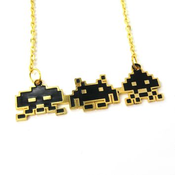 Atari Space Invaders Themed Pixel Alien Pendant Necklace   Limited Edition