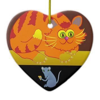 Cat & Mouse Ceramic Ornament