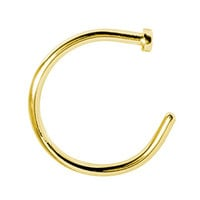 BodyJ4You® Nose Rings Hoop 22 Gauge Goldtone Stainless Steel Piercing Jewelry