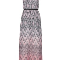Multicolor Chevron Stripe Maxi Dress With Belt - Peach Melba Combo