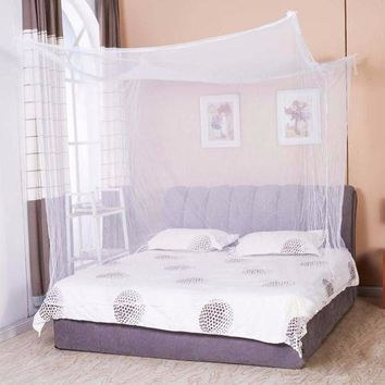 ac NOOW2 Moustiquaire 1pc Canopy White Four Corner Post Student Canopy Bed Mosquito Net netting Queen King Twin size