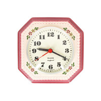 Vintage German Ceramic Clock -- Mid Century Quartz Wall Clock -- Retro Kitchen Clock -- Pink With Flowers -- Battery Powered
