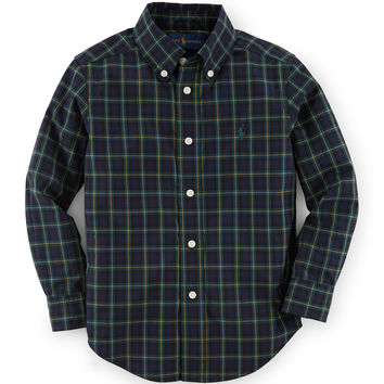 Plaid Custom-Fit Poplin Shirt, Size 2-7,