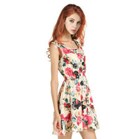 SIMPLE - Popular Women's Fashionable Floral Casual Sleeveless Chiffon Spaghetti Strap Party Beach Summer Dress b3041