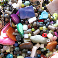 Gemstone Beads Glass Beads Metal Beads Loose Lot Bead Soup Mix - 1 Baggie