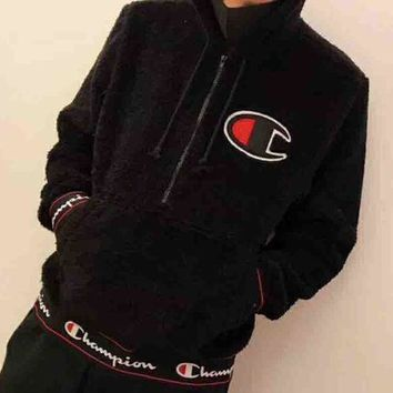 ESBV9O Champion 2018 New Teddy Velvet Thickened Hooded Sweatshirt F-MG-FSSH Black