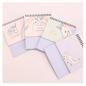 2019 Kawaii Rainbow Unicorn Calendar DIY Table Calendars Desk Calendar Daily Schedule Planner 2018.09~2019.12
