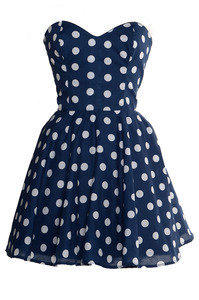 Style Icon's Closet 50s style Vintage Inspired Pin-Up African Print Retro Rockabilly Clothing — Pin-Up Blue Polka Dot Prom Party Dress