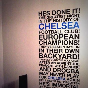 Martin Tyler Chelsea Football Drogba Quote Wall Sticker