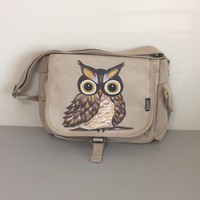 Messenger Bag with Hand Painted Owl