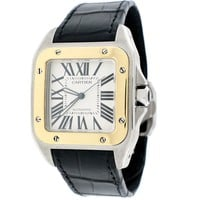 Cartier Santos 100 Large 2-Tone 18K Yellow Gold Gold/Stainless Steel Factory Roman Dial Watch W20072X7 Box&Papers (Certified Pre-owned)