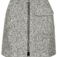 TALL Boucle Zip Front Skirt - White