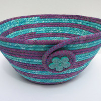 Teal and Purple Coiled Fabric Basket, Bowl