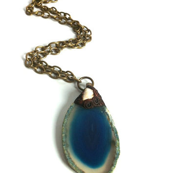Blue Agate Geode Slice Pendant Necklace Rock Mineral Pendant Geode Slab Designer Bohemian Pendant Brass Chain Necklace Made in Canada