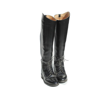 size: 7 Black Leather Equestrian Riding Boots