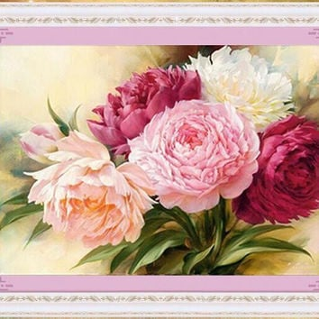 Peony flowers Round diamond Diy 5D diamond painting cross stitch kits Diamond Embroidery Mosaic House Decoration