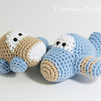 Crochet toy baby rattles amigurumi airplane and car set - organic cotton teethers - light blue and beige