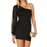 Black One Shoulder Long Sleeve Dress