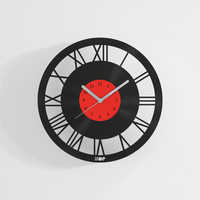 Roman wall clock from upcycled vinyl record (LP) | Hand-made gift for music lover | Home wall decoration, housewarming gift