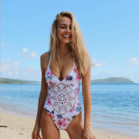 Floral Printed crocheted  swimsuit B0014774