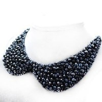 False Collar Crystal Beaded Round Necklace Chain Detachable Color Black; Plus a Free Gift Cellphone Anti-dust Plug