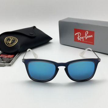 Ray-Ban RB4221 6170/55 Shot Blue Rubber Square Sunglasses, Blue Mirror Lens 50mm