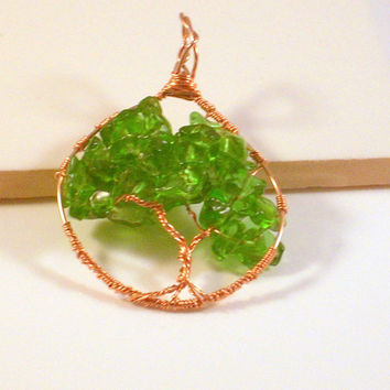 "EMBRACE - ""Tree-of-Life"" Pendant Handed Crafted Copper Wires and Chips of Emerald PeridoT! 1 1/2"" w x 2 1/2"" L including the bail."