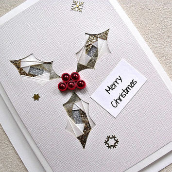handmade iris fold Christmas card – Merry Christmas holly