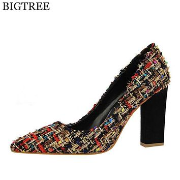 High Heel Shoes Women Sexy Dress Footwear Fashion  Brand Pumps Thick With Spell color Wedding shoes