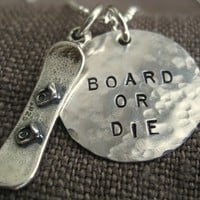 Gifts for Him - Gift for Snowboarder - Hand stamped SNOWBOARD Charm Necklace or Keyring - Custom - Personalized