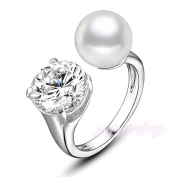 Silver Plated Free Size Pearl Diamond Ring