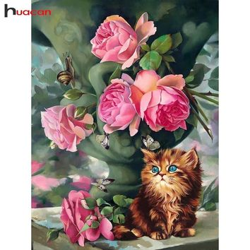 5D Diamond Painting Kitten and Roses Kit