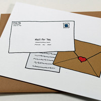Mail Call. Keep in Touch Thinking of You Snail Mail Card. Brown. White. Whimsical Stationery.