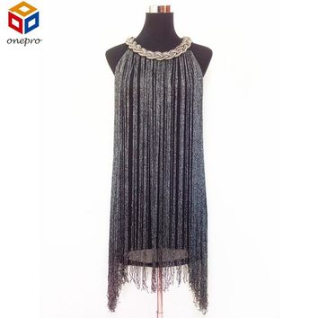 Great Gatsby Ombre Metal Chain Halter-Neck Black 1920s Fringe Flapper Charleston Dress Sexy Party Bodycon Club Dress