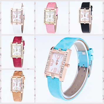 Women's quartz table square diamond-studded digital dial watch