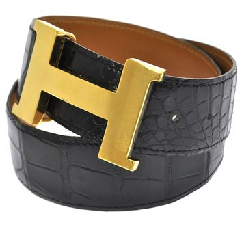 Auth HERMES H Buckle Vintage Belt Crocodile Porosus Black Gold France K06905