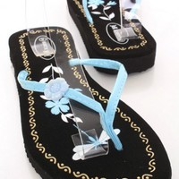 Light Blue Patent Faux Leather Floral V Strap Thong Post Sandals