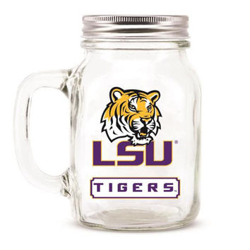LSU Tigers NCAA Mason Jar Glass With Lid