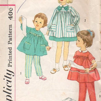 Simplicity 1950s Sewing Pattern 3177 Toddler Child's Smock Pants Flared Dress Back Button School Girl Frock High Yoke Retro Fashion Size 4