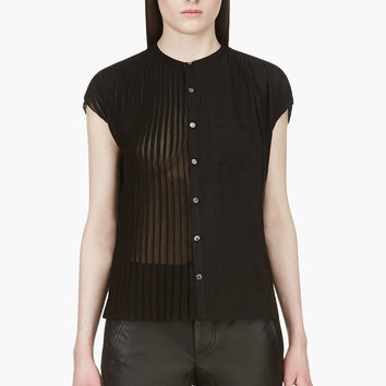 Undercover Black Half Pleated Open Back Blouse