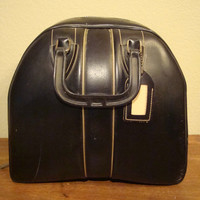 Vintage Black Leather Bowling Bag Awesome Piece 1960's-70's