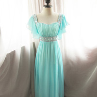 Egyptian Breatfast at Tiffany's Soft Seafoam Blue Minty Green Waterfall Dreamy Alice in Wonderland Flowy Angel Marie Antoinette Vintage Gown