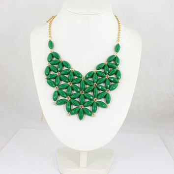 J Crew Inspired, Long Bib, Statement Necklace - Emerald, Green,  Mother Day Gift, Bridesmaids, Wedding Gift