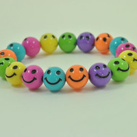 Smiley Face Bracelet , Little Girls Bracelet, Fun Bracelet,  Children Jewelry, Smiley Beads