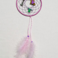 Disney Rapunzel inspired Dreamcatcher-medium size, pink-kids bedroom hanging wall decoration-Tangled