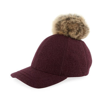 UGG Wool-Blend Baseball Hat w/ Fur Pompom