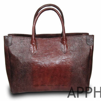 Vivien Genuine Exotic Lizard Leather Handbag in Mahogany Brown/Orange/Beige Colour