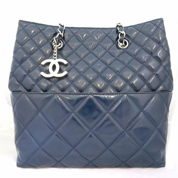 Chanel Quilting Patent Leather Silver Metal Chain Shoulder Bag Dark Blue
