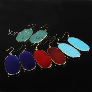 Trendy Gold Plated Stone Drop Earrings Women Unbranded