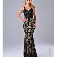 Nina Canacci 4100 Black Lace Open Back Dress 2015 Prom Dresses